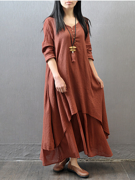 Brick 3/4 Sleeves Ramie Cotton Dress