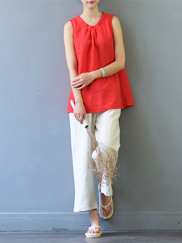 Simple Pure Color sleeveless Ramie Cotton Shirt