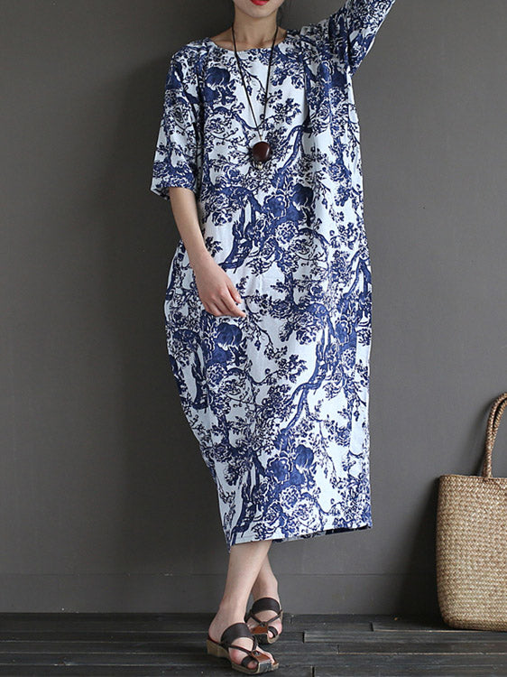 Loose National style Printed Long Dress