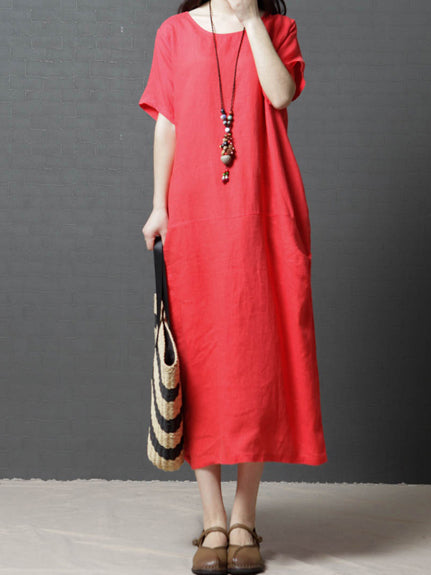 Pure Color Cotton Comfortable Long Dress