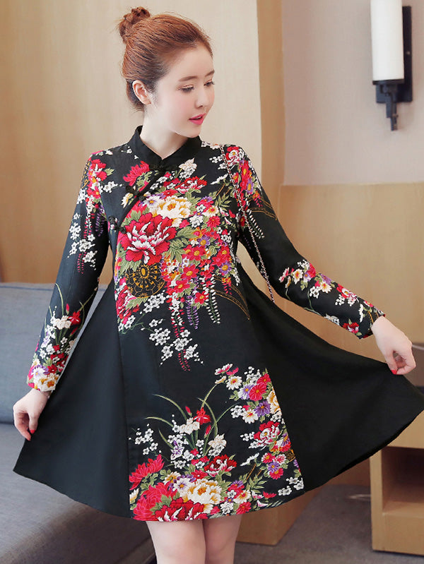 Black Floral Short Cheongsam Dress