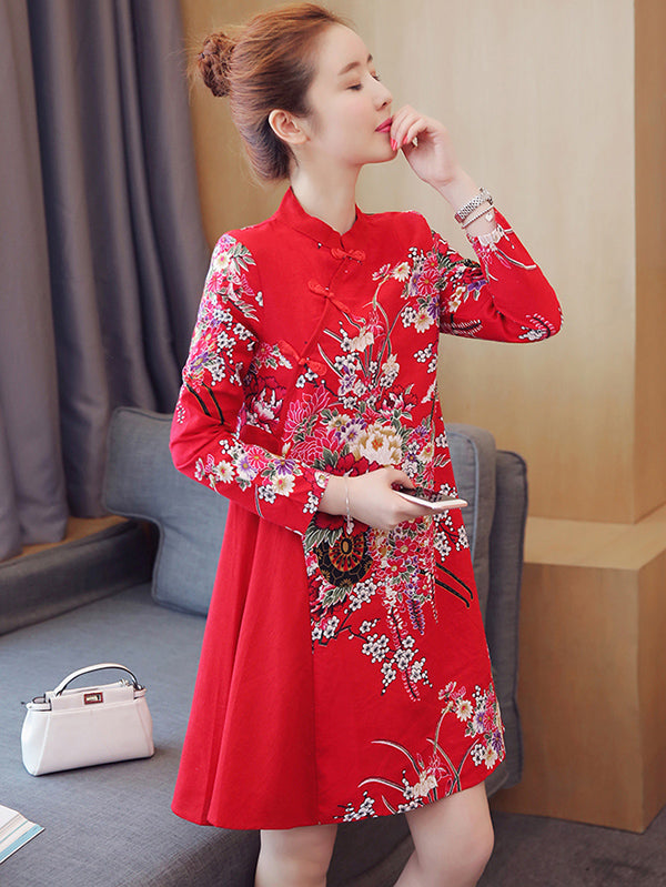 Red Floral Short Cheongsam Dress
