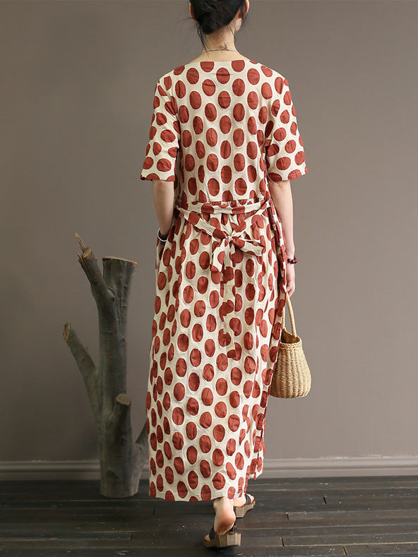 Loose Polka Dot Printed V-neck Long Dress