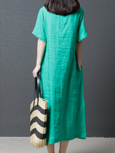 Black&Green Round-neck Ramie Cotton Long Dress