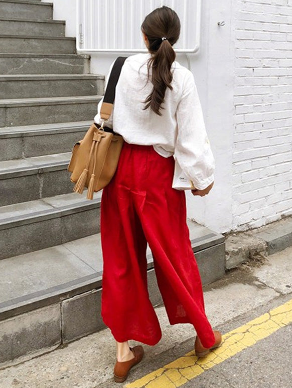 Super Loose Comfortable Linen Cotton Red Pants