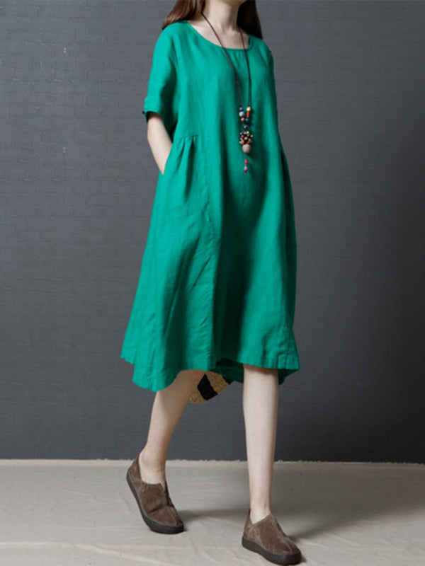 3 Solid Colors Round-neck Ramie Cotton Short Dress