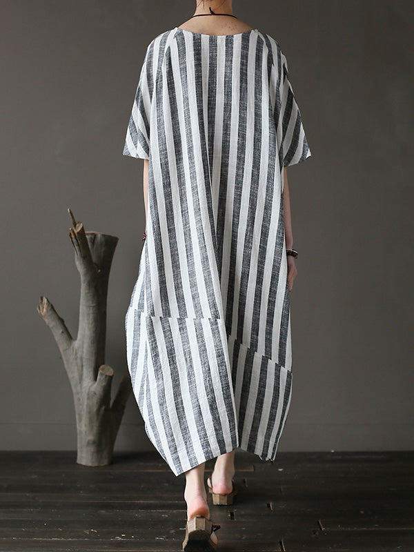 Loose Fresh Striped Printed Long Dress