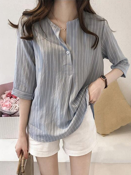 Stripe V-neck Designed Medium sleeves Shirt
