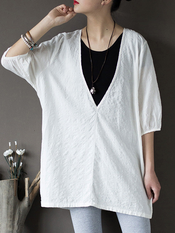Pure Cotton V-neck Comfortable Blouse