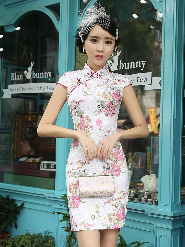 Vintage Floral Short Cheongsam Dress
