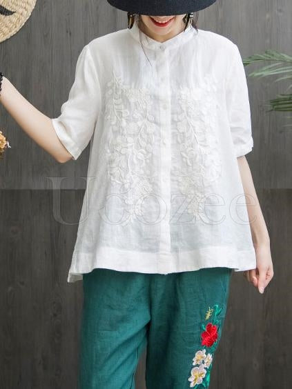 Comfortable Cotton A-line Embroidered Blouses