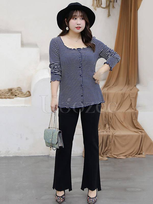 Casual  Striped BLouse Tops