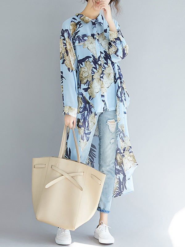Loose Cropped Flower Printed Long Shirt