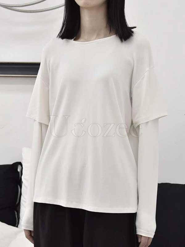 False Two Solid Long Sleeves T-Shirt Top