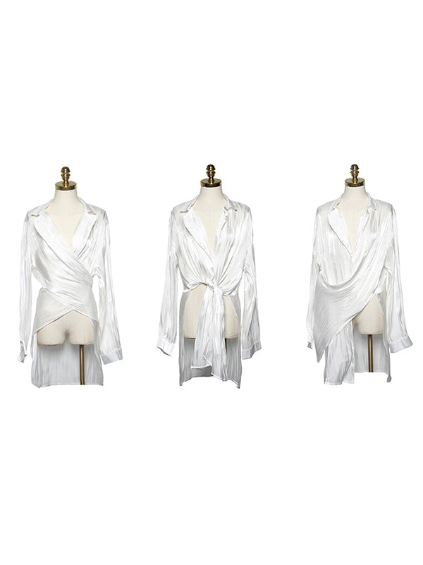 Multi-way to Wear White Soft Blouse
