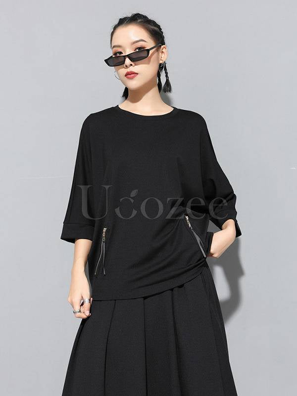 Casual Zipper Half-Sleeve T-Shirts