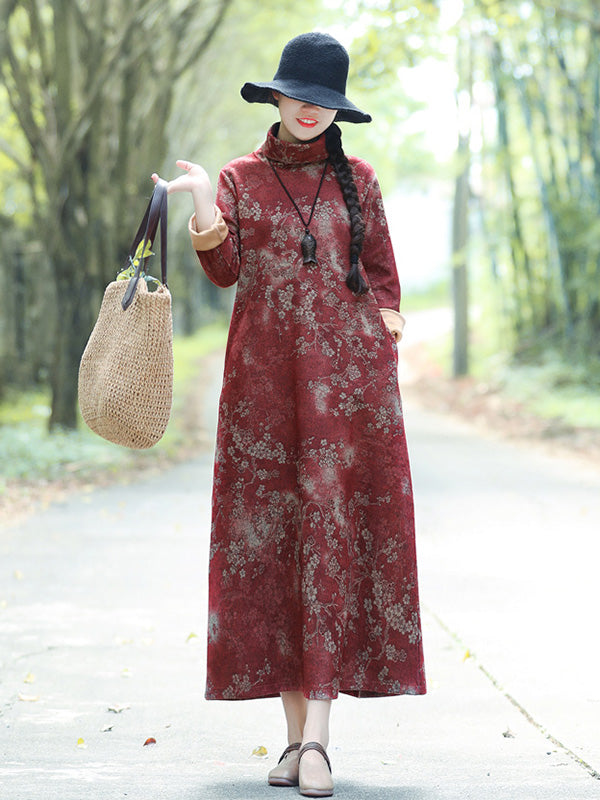 Loose National Floral High neck Long Dress