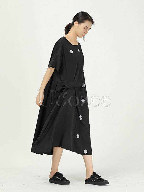 Loose Cropped Polka-Dot Splicing Pleated Dress