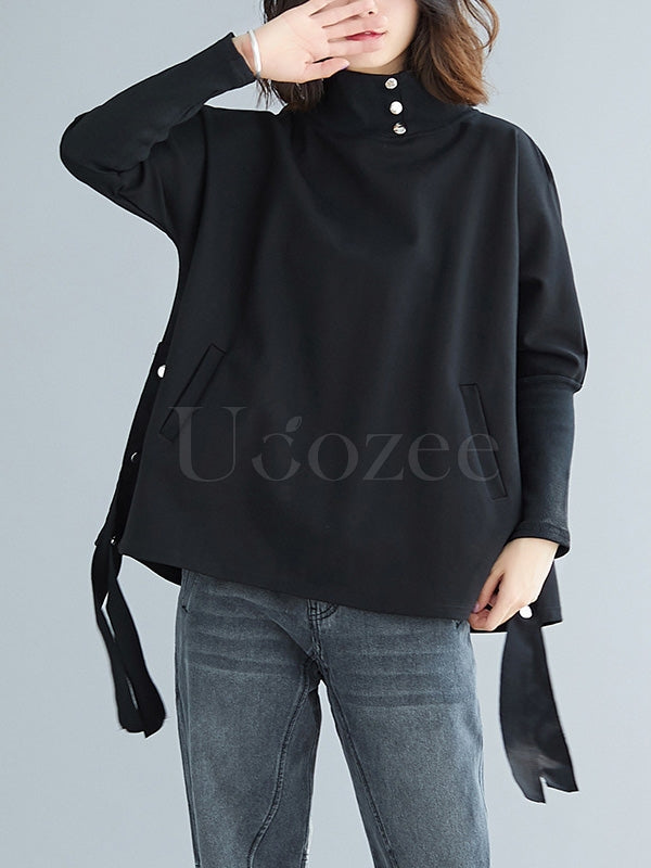Loose Solid Ribbon Sweatshirt