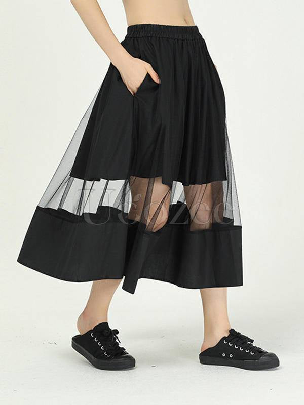 Solid Color Gauze See-Through Splicing Skirt