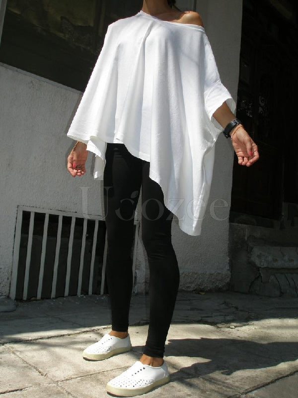 Simple White Batwing Sleeves T-shirt
