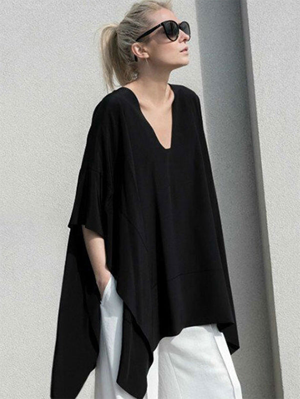 Loose V-neck Split-joint Batwing Sleeves T-shirt