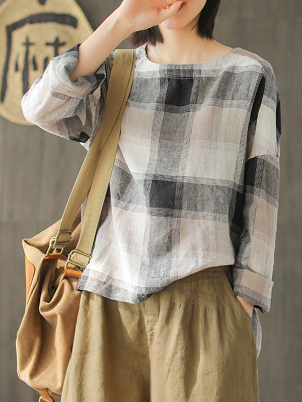 Ramie Cotton Plaid High-low Loose Fresh Shirt Top