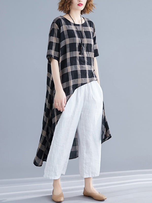 Irregular Forked Tail Plaid Long T-shirt