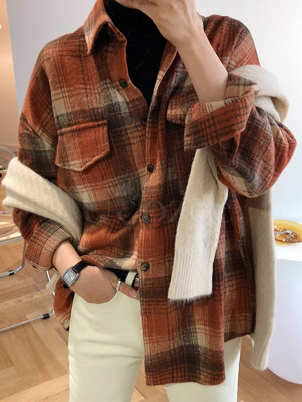 Loose Casual Thickening Plaid Shirt