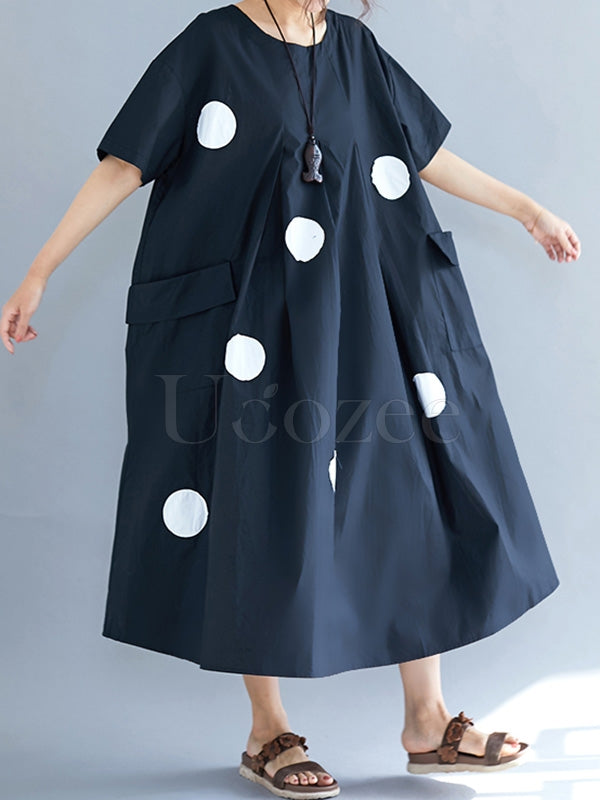 Loose Polka-dot Ruffled Midi Dress