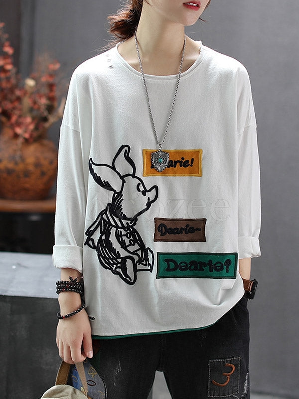 Casual Embroidered Applique T-shirt
