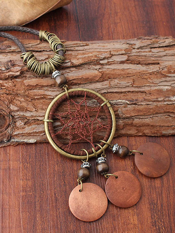Retro Ring Pendants Dynamic rope Necklace