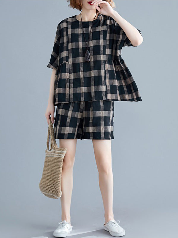 New Plaid T-Shirt + Loose Oversize Short Pants
