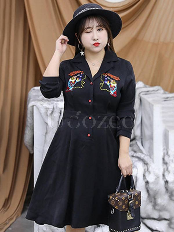 Casual Noble Embroidered V-neck Dress