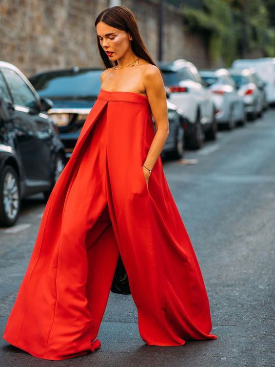 Red Loose Wide Leg Tube Jumpsuits