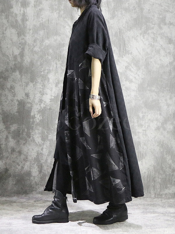 Original Geometry Printed Split-joint Maxi Dress
