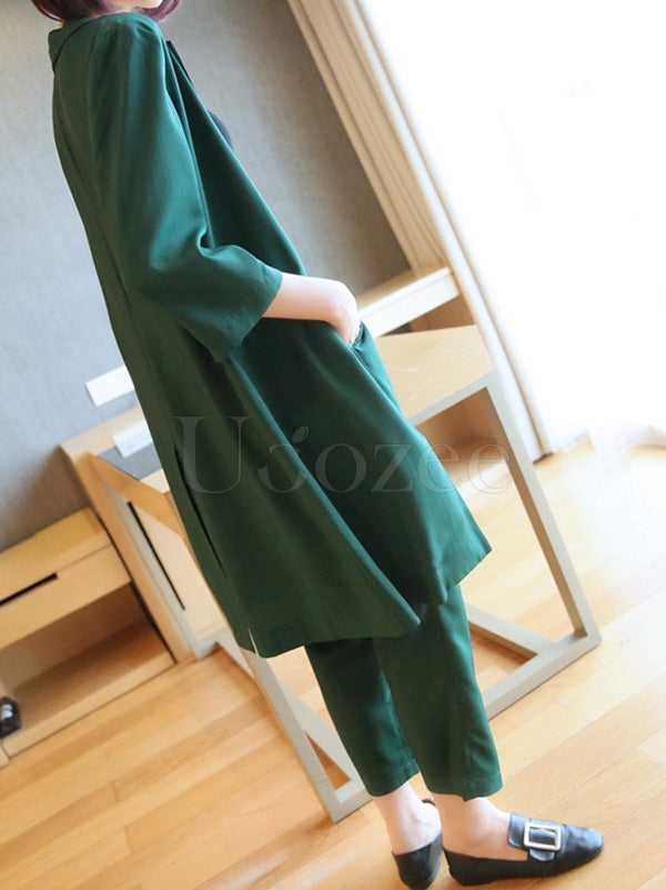 Two-Pieces Solid Color Blazers Suit