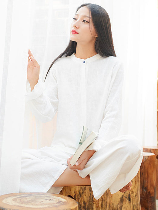 Soft Yoga Ramie Cotton Long Sleeves Blouse