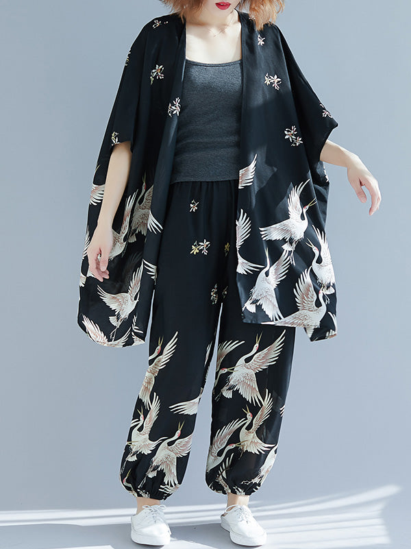 Loose Plus Size Crane Print Sunscreen Cover-up&Pants Suits