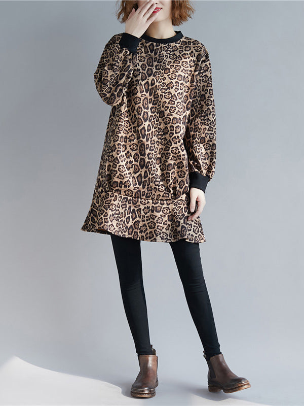 Loose Leopard Falbala Round-neck Short Dress