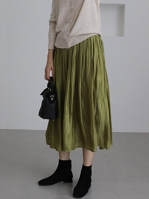Simple Solid Color Ruffled Skirt