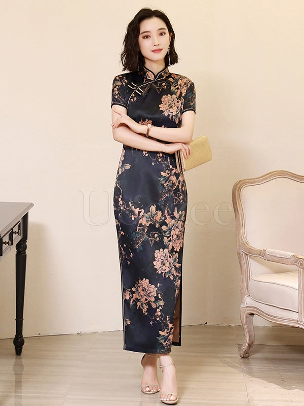 Floral Two-Layer Improved Long Cheongsams