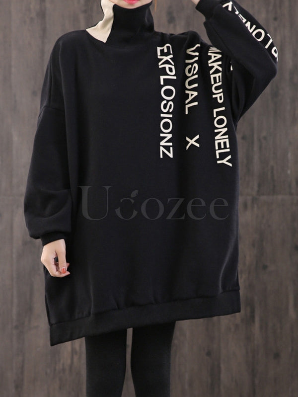 Turtleneck Letter Print Split-Side Thickening Sweatshirt