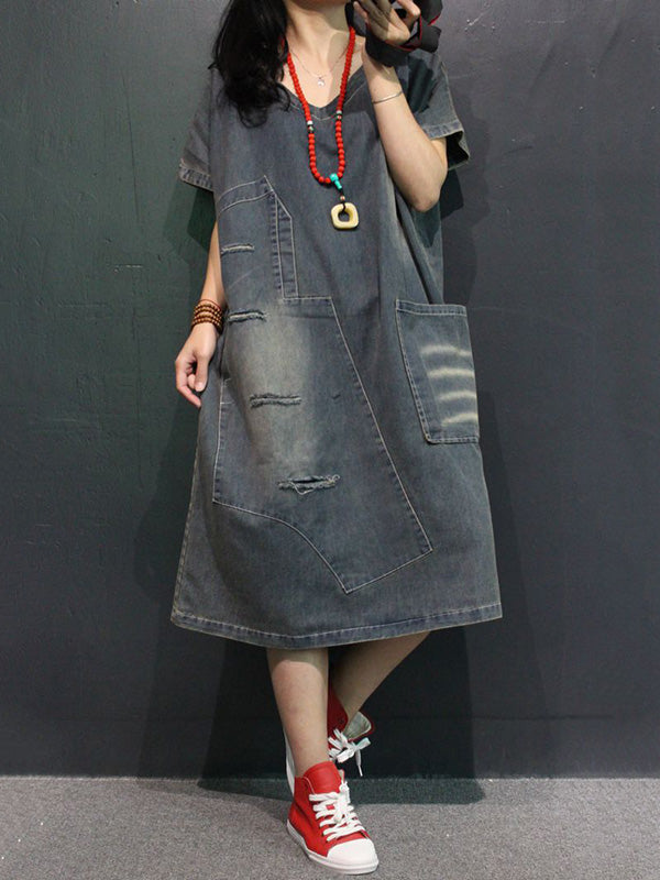 Retro Jean V-neck Dress