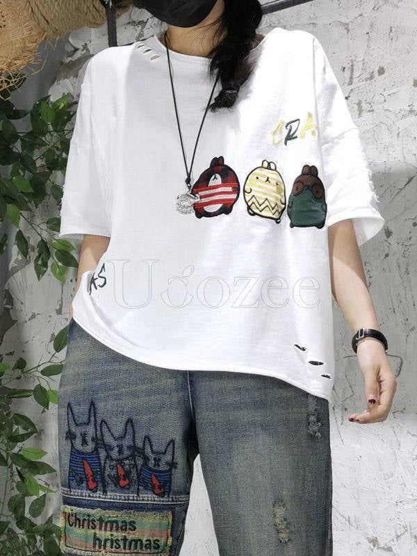 Loose Animal Embroidery Round Neck T-Shirt