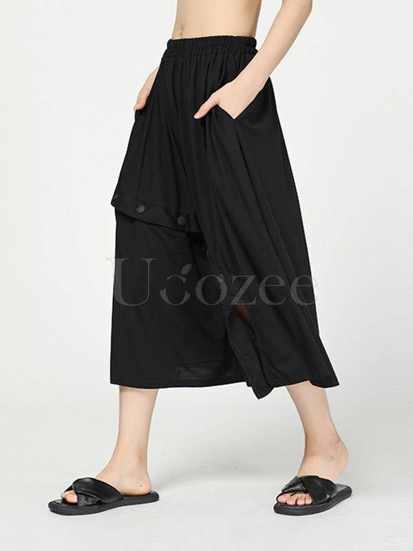 Stylish Black Cropped Button Splicing Skirt