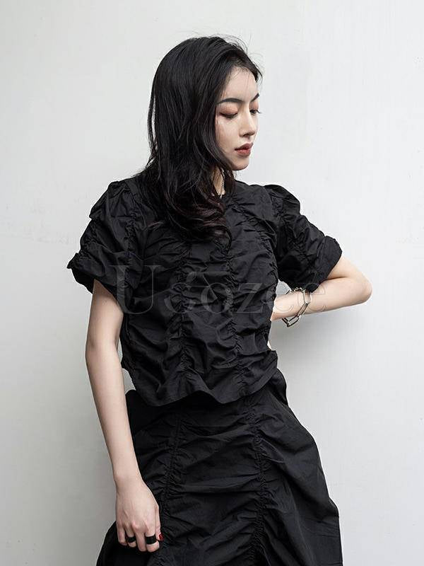 Loose Pleated Solid Puff Sleeve T-Shirt