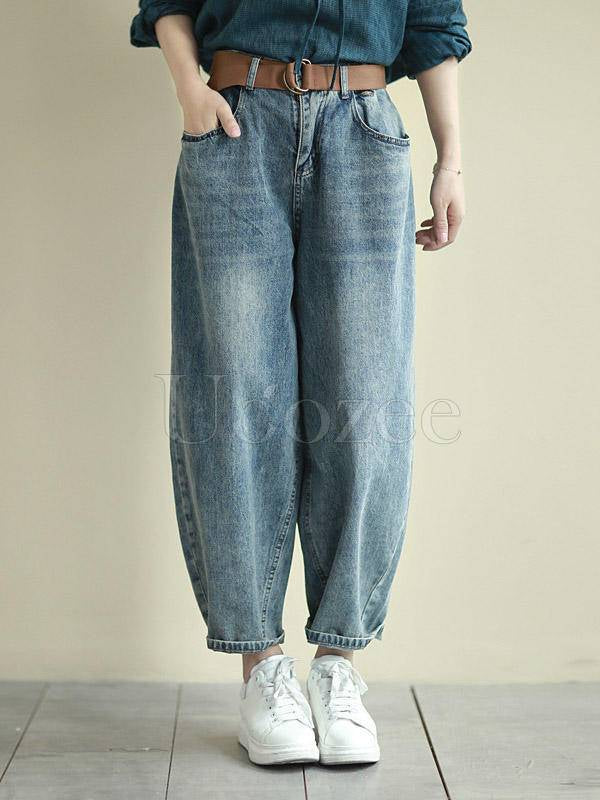Loose Washable Casual Jean Pants