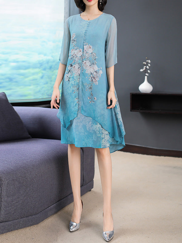 Silk Printed Round-neck Short Dress