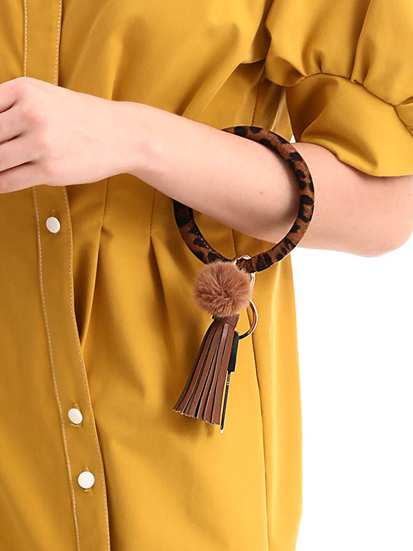 Leopard Tassel Hairball Keychain Decorations
